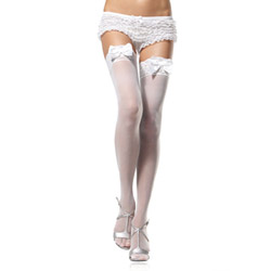 Sheer lace top thigh highs with satin bows