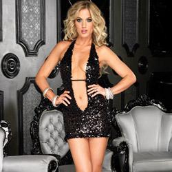 Deep-V sequin halter mini dress