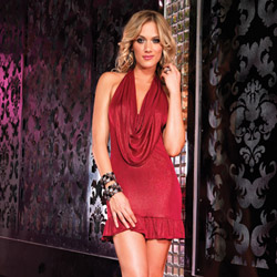 Shimmer foil halter dress - mini dress