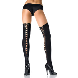Opaque thigh highs with satin lace up back - hosiery