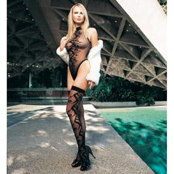 Swirl jacquard teddy set - teddy and stockings set