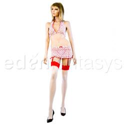 Flocked heart bra and skirt set - bra, panty, gartered skirt and stockings set
