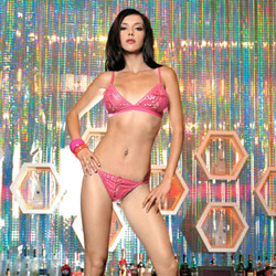 Sequined top with g-string - bra and panty set