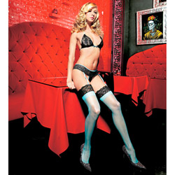 Lacey bra set - bra, gartini and stockings set