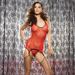 Red fishnet cami garter set - camigarter and panty set