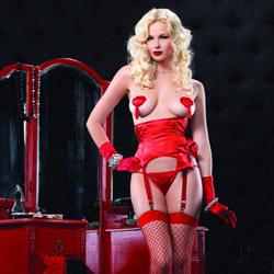 Red garter waist cincher