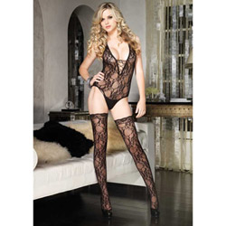 Floral lace teddy with stockings - teddy and stockings set
