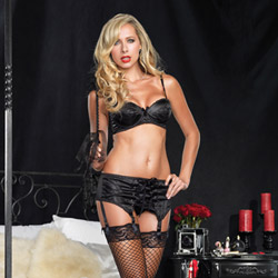 Satin bra and garterbelt set - bra and panty set