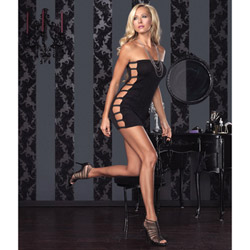 Slinky tube dress with open side - mini dress