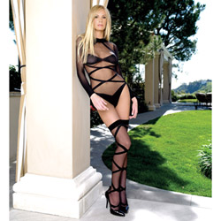 Sheer criss cross teddy set - teddy and stockings set