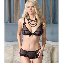 Sheer bra and ruffle trimmed retro briefs - bra and panty set