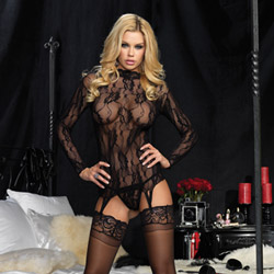 Long sleeved floral garter top and g-string - camisole set