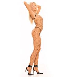 Black fence net bodystocking - bodystockings