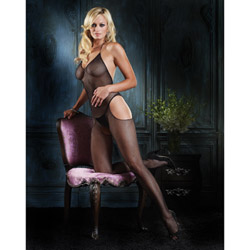 Halter v-neck fishnet bodystocking - bodystockings