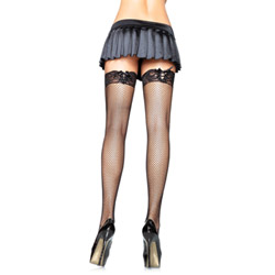 Fishnet stockings with corset lace top plus size - thigh highs