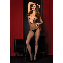 Halter neck fishnet bodystocking - crotchless bodystocking