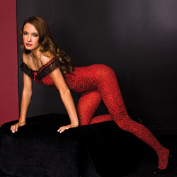 Off shoulder leopard bodystocking - crotchless bodystocking
