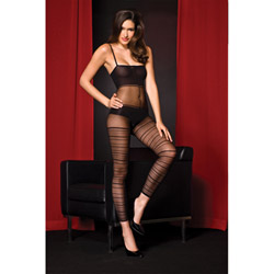Striped footless bodystocking - crotchless bodystocking