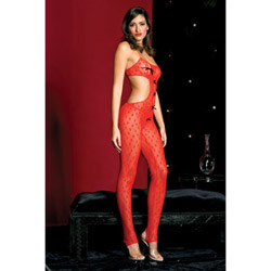 Peek-a-boo sweetheart body stocking - teddy