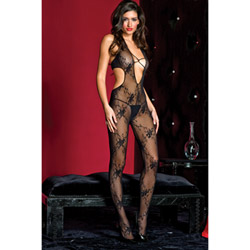 Deep-V lace bodystocking - bodystockings