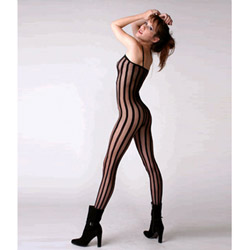 Vertical striped crotchless bodystocking
