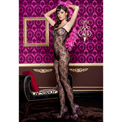 Black floral lace bodystocking - bodystockings