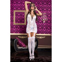 Lace halter neck suspender dress - mini dress