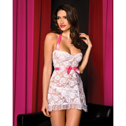 Floral lace mini dress with bow - sexy lingerie