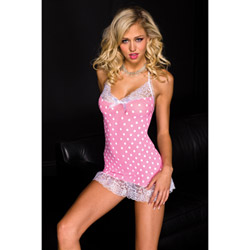 Opaque polka dot mini dress - sexy lingerie