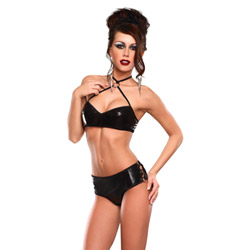 Criss cross crop top and ringed short - bra and panty set