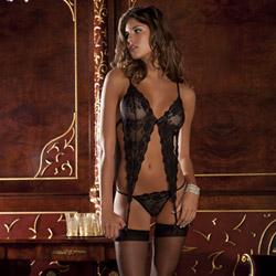 Black lace garter bralet and thong set - bra and panty set