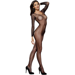 Crotchless fishnet bodystocking