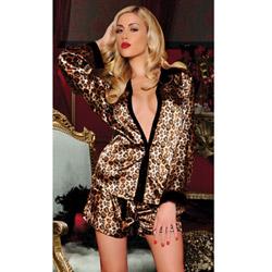Leopard shirt and short set - peignoir