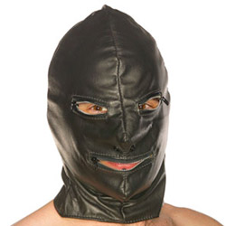 Leather hood with zip eyes and mouth - headgear