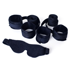 Our first bondage kit - cuffs and blindfold set