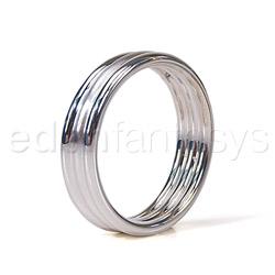 Silver ribbed cock ring