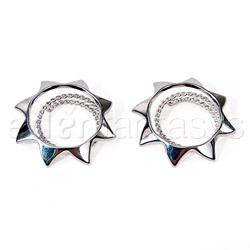 Silver sun nipple shields - nipple jewelry