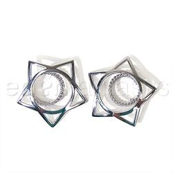 Nipple jewelry - Silver star nipple shields - view #2