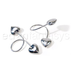 Nipple jewelry - Silver heart loop nipple rings - view #3