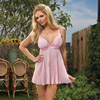 Pink pleated babydoll and thong