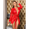 Hot red lace robe View #1