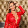 Hot red lace robe View #3