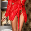 Hot red lace robe View #4