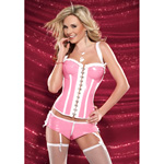 Fetish pink PVC corset reviews