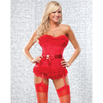 Lace corset with ruffled top reviews