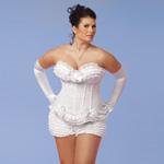 Polka dot mesh corset white reviews