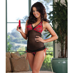 Plaid top babydoll thong and toy reviews
