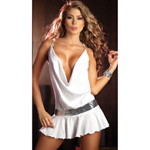 White draping front dress reviews