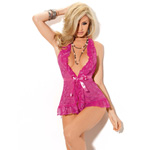 Pink lace halter ruffle chemise reviews