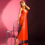 Red satin and lace gown reviews